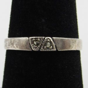 Size 7 Sterling Silver Rustic Marcasite Stone Band
